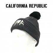 [California Republic] Pom Pom Cali Beanies (Heather Charcoal) - 캘리포니아 리퍼블릭 베어 비니 (히더차콜)