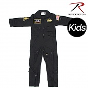 [Rothco] Kids Flight Coverall With Patches (Black) - 로스코 키즈 비행조종사 작업복 (패치 포함) (블랙)