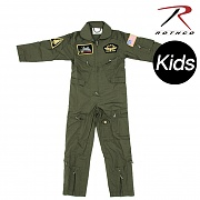 [Rothco] Kids Flight Coverall With Patches (OD) - 로스코 키즈 비행조종사 작업복 (패치 포함) (OD)